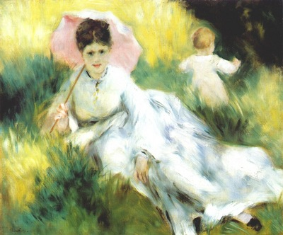renoir woman with parasol and small child