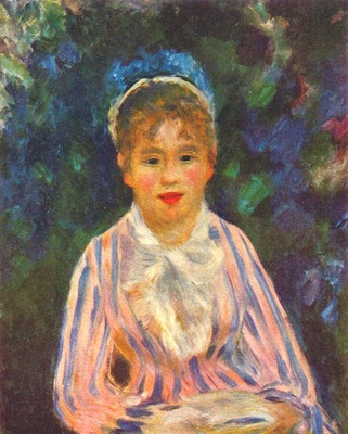 renoir young woman in a blue and pink bodice