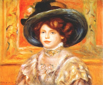renoir young woman in a blue hat c1900