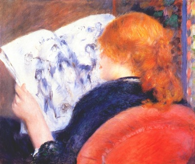 renoir young woman reading an illustrated journal c1880