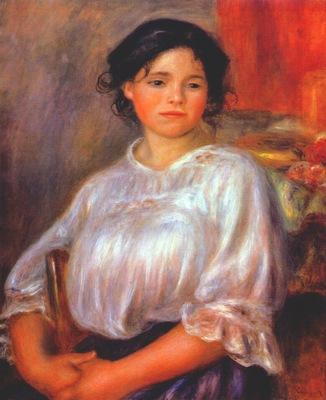 renoir young woman sitting helene bellon