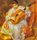 Pierre Auguste Renoir A Woman Playing the Guitar