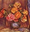 Pierre Auguste Renoir Roses Before the Blue Curtain