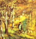 Pierre Auguste Renoir Young Man Walking with Dogs in Fontainebleau Forest