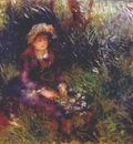 renoir aline charigot with a dog