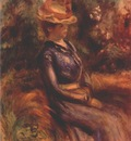 renoir girl wearing a straw hat