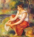 renoir girl wiping her feet c1890