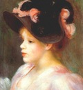 renoir girl with a pink and black hat c1890