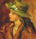 renoir girl with a straw hat c1908