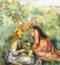 renoir girls picking flowers in a meadow c1890