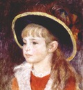 renoir jeanne henriot girl in a blue hat