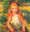 renoir little girl carrying flowers