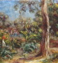 renoir the large tree woman with red blouse in the gard B84