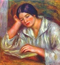 renoir woman in white, reading