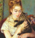 renoir woman with a cat c1875
