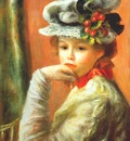 renoir young girl in a white hat