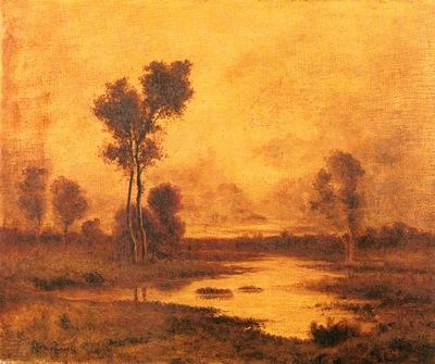 Richet Leon A River Landscape
