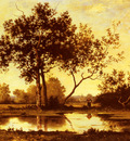 Richet Leon Figure Beside A Pool In A Wooded Landscape