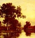 Richet Leon Paysage De Riviere Au Crepuscule