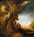 Rijn van Rembrandt Landscape with flight to Egypt Sun