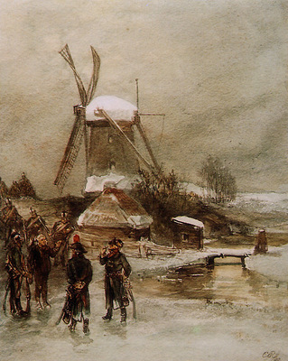 Rochussen Charles French troops at Dutch mill Sun