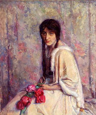 Roelofs Albert A Girl Holding Flowers