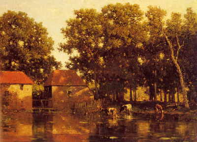 Roelofs Willem A Sunlit River Landscape With Cows Watering