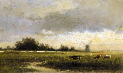 Roelofs Willem Cattle in polderlandscape Sun