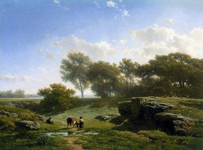Roelofs Willem Cow shepherd in summerlandscape Sun