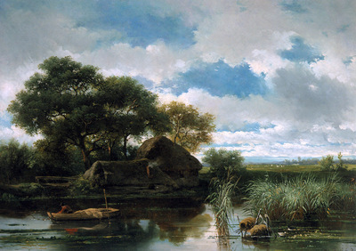 Roelofs Willem Fisherman near a farm Sun