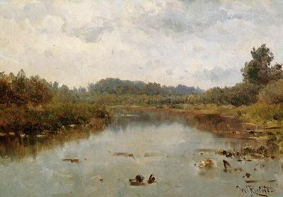 Roelofs Willem River landscape Sun