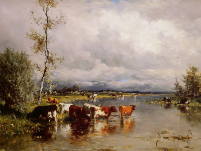 Roelofs Willem River landscape with cows Sun