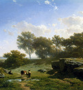 Roelofs Willem Cow shepherd in summerlandscape Sun