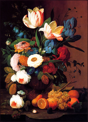 bs flo Severin Roesen Still Life Flowers And Fruit