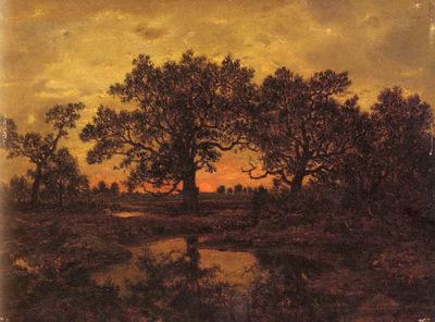 Rousseau Pierre Etienne Theodore Coucher De Soleil