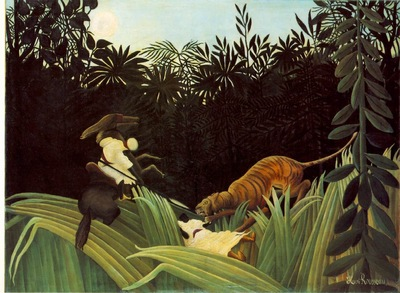 Rousseau,H  Scout Attacked by a Tiger Eclaireur attaque par