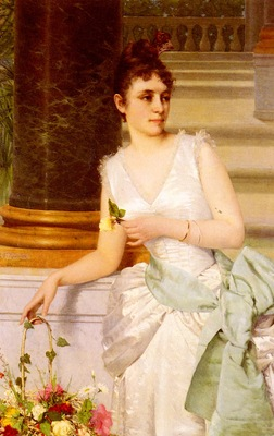 Ruben Franz Leo Portrait Of A Lady With A Green Satin Sash