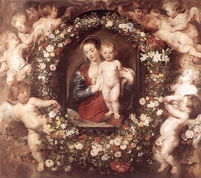 Madonna in Floral Wreath WGA