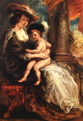 Rubens Helena Fourment with her Son Francis 1635 Alte Pinako