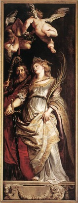 Rubens Raising of the Cross Sts Eligius and Catherine