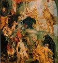 Rubens Virgin and child enthroned with saints c 1627 28, Ske