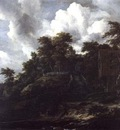 Ruisdael,J  Wooden hillside with a view of Castle Bentheim,