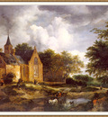 van Ruisdael A Woodland Landscape with a Cloister sj