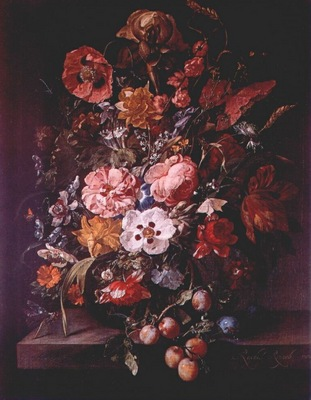 ruysch bouquet in glass vase
