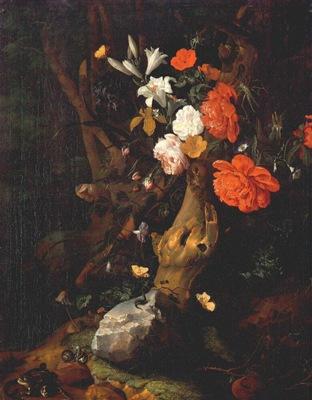 ruysch flowers on a tree trunk