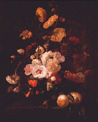 ruysch hollyhocks other flowers on ledge with peaches