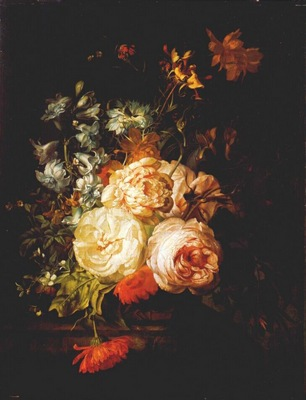 ruysch roses marigolds hyacinth etc on marble ledge