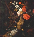 ruysch flowers on a tree trunk