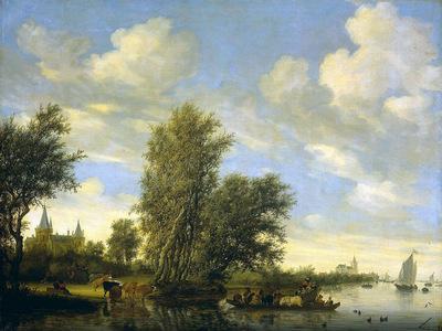 Ruysdael van Salomon Riverlandscape with ferry Sun