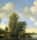 Ruysdael van Salomon Riverlandscape with ferry Sun